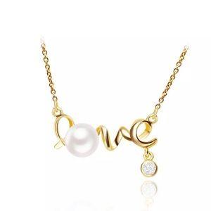 "Jewelry - NWT Gold & Cursive Script ""LOVE"" Necklace"